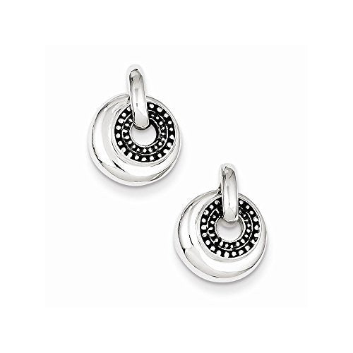 Sterling Silver Antiqued Round Dangle Earrings, Best Quality Free Gift Box Satisfaction Guaranteed - shopvistar