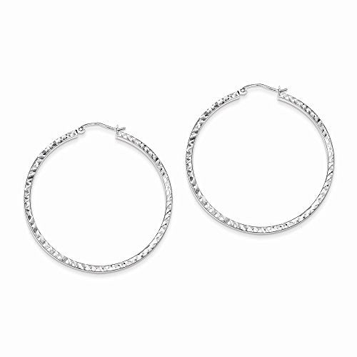 Sterling Silver Dia-Cut 2x45mm Square Tube Hoop Earrings - shopvistar