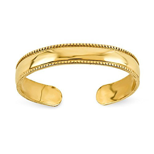 14k Mill Grain Adjustable Toe Ring, Best Quality Free Gift Box Satisfaction Guaranteed - shopvistar