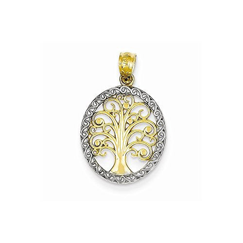 14k Yellow Gold Rhodium Plated Tree Of Life Pendant, Best Quality Free Gift Box Satisfaction Guaranteed - shopvistar