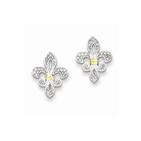 Sterling Silver & 14k Yellow Gold Diamonds Fleur de Lis Post Earrings - shopvistar