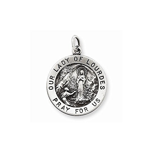 Sterling Silver Antiqued Our Lady Of Lourdes Medal, Best Quality Free Gift Box Satisfaction Guaranteed - shopvistar