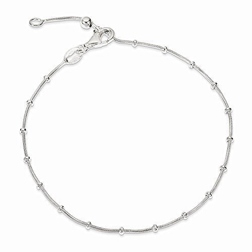 Sterling Silver 9inch Polished Beaded Anklet, Best Quality Free Gift Box Satisfaction Guaranteed - shopvistar