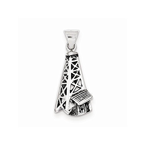 Sterling Silver Antiqued Oil Derrick Pendant, Best Quality Free Gift Box Satisfaction Guaranteed - shopvistar