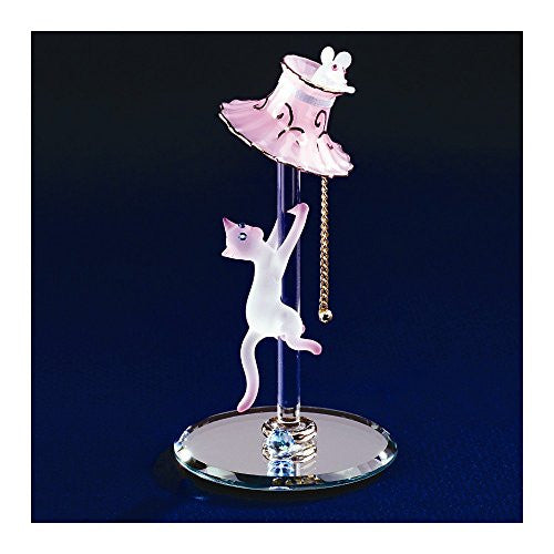 Cat with Lamp Glass Figurine - shopvistar