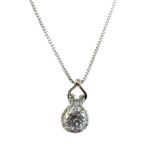 925 Sterling Silver 18 Inch Necklace Pear Shape CZ Pendant Set, Free Box Included - shopvistar