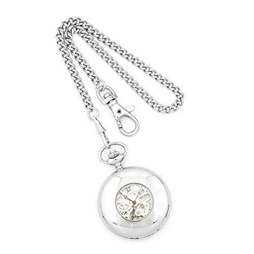 Charles Hubert Solid Stainless Steel White Dial Pocket Watch, Best Quality Free Gift Box Satisfaction Guaranteed - shopvistar