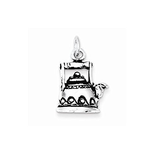 Sterling Silver Antiqued Tea Pot Charm, Best Quality Free Gift Box Satisfaction Guaranteed - shopvistar