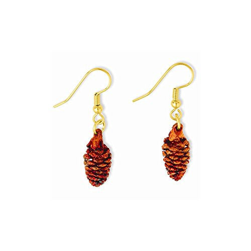 Iridescent Copper Dipped Pine Cone Dangle Earrings - shopvistar