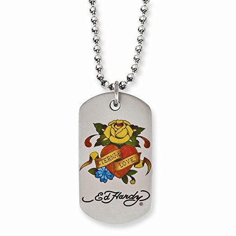 Stainless Steel Eternal Love Rose Dog Tag Necklace by Ed Hardy Jewelry, Best Quality Free Gift Box Satisfaction Guaranteed - shopvistar