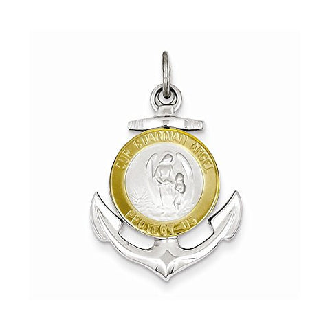 Sterling Silver & Gold Plated Guardian Angel Anchor Medal Pendant - shopvistar