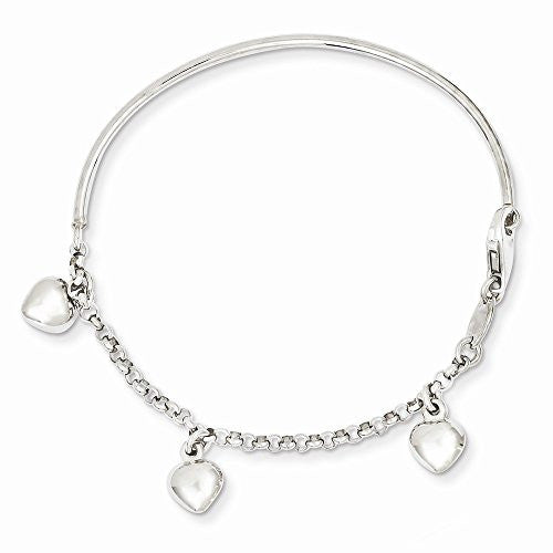 14k White Gold Polished Dangle Heart Baby Bracelet, Best Quality Free Gift Box Satisfaction Guaranteed - shopvistar