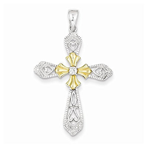 Sterling Silver Vermeil Cz Cross Pendant, Best Quality Free Gift Box Satisfaction Guaranteed - shopvistar
