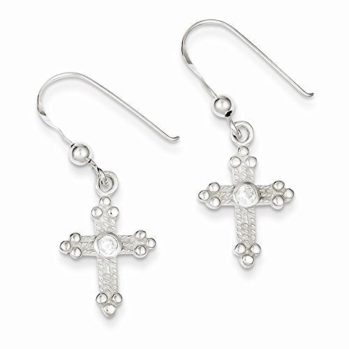 Sterling Silver Cross & Cz Shepherd Hook Earrings, Best Quality Free Gift Box Satisfaction Guaranteed - shopvistar