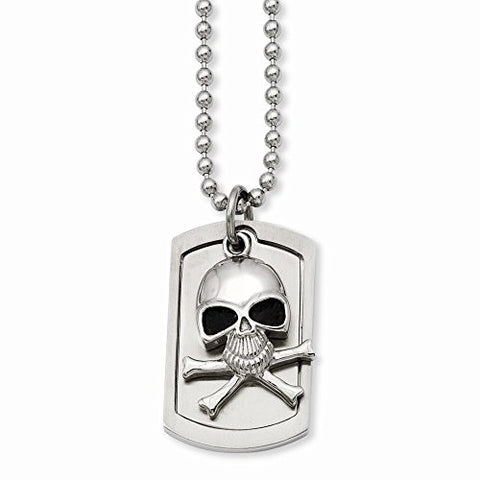 Stainless Steel Antiqued Skull & Cross Bones Dog Tag Necklace - shopvistar