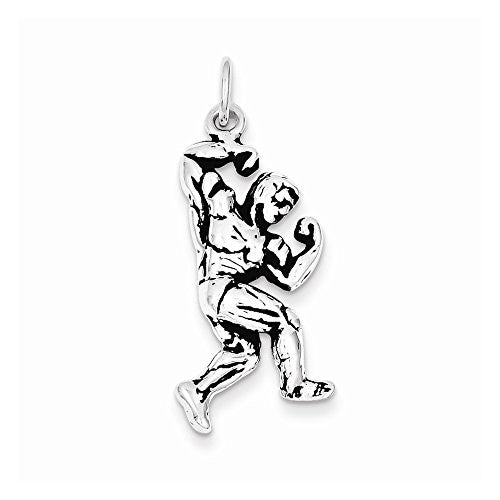 Sterling Silver Antiqued Body Building Charm, Best Quality Free Gift Box Satisfaction Guaranteed - shopvistar