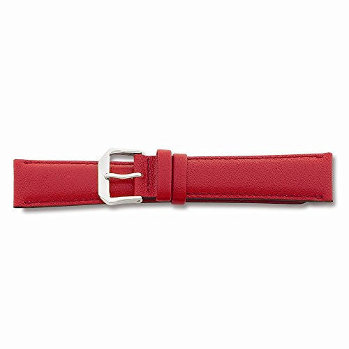 15mm Red Smooth Leather Silver-tone Buckle Watch Band, Best Quality Free Gift Box Satisfaction Guaranteed - shopvistar
