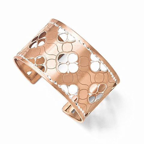 Leslies Sterling Silver and Rose Gold-plated Dia-Cut Cuff Bangle - shopvistar