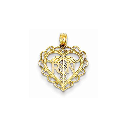 14k Registered Nurse Heart Pendant, Best Quality Free Gift Box Satisfaction Guaranteed - shopvistar