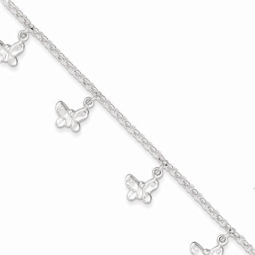 Sterling Silver Polished Butterfly Bracelet, Best Quality Free Gift Box Satisfaction Guaranteed - shopvistar