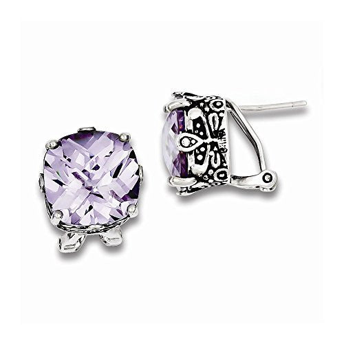 Sterling Silver Lavender CZ Antiqued Earrings - shopvistar