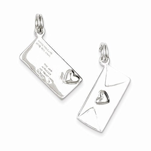 Sterling Silver Polished Letter Envelope Charm, Best Quality Free Gift Box Satisfaction Guaranteed - shopvistar
