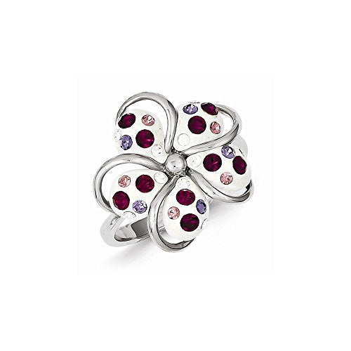Sterling Silver Stellux Crystal Flower Ring, Best Quality Free Gift Box Satisfaction Guaranteed - shopvistar