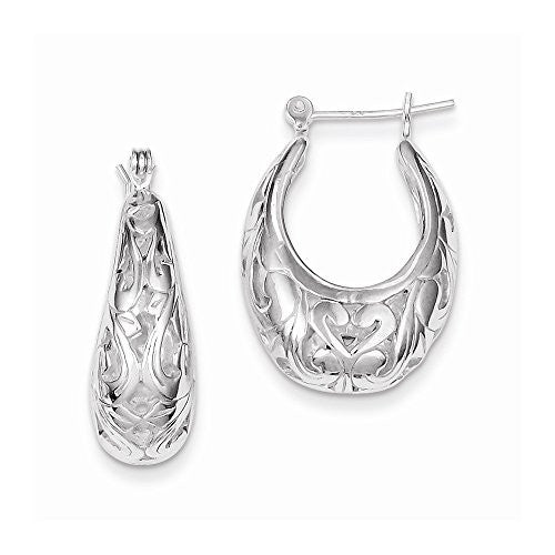 Sterling Silver Oval Filigree Hoop Earrings, Best Quality Free Gift Box Satisfaction Guaranteed - shopvistar