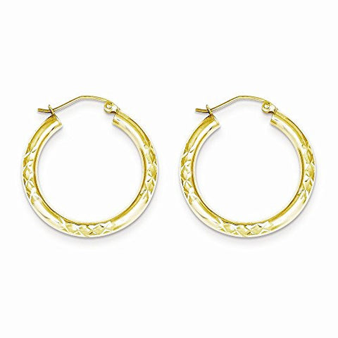 10k Dia-Cut 3x25mm Hollow Tube Hoop Earrings, Best Quality Free Gift Box Satisfaction Guaranteed - shopvistar