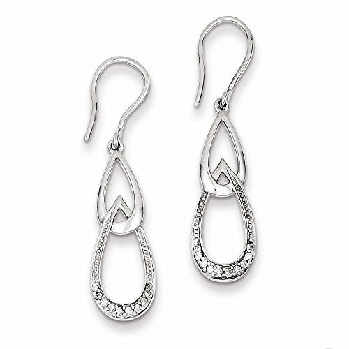 Sterling Silver Diamond Dangle Earrings, Best Quality Free Gift Box Satisfaction Guaranteed - shopvistar