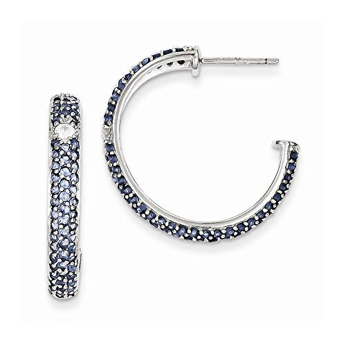 Sterling Silver Blue & Clear Cz Half Hoop Post Earrings - shopvistar
