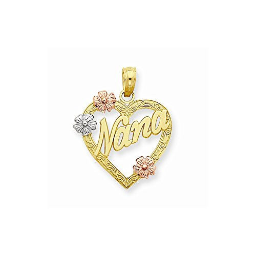 14k Tri-color Nana In Heart With Flowers Pendant, Best Quality Free Gift Box Satisfaction Guaranteed - shopvistar