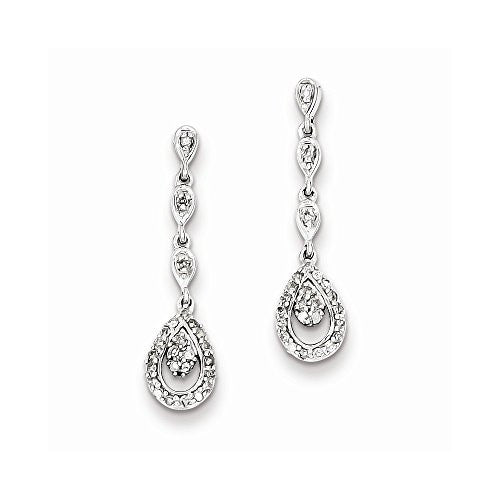 Sterling Silver & Diamond Teardrop Post Dangle Earrings - shopvistar