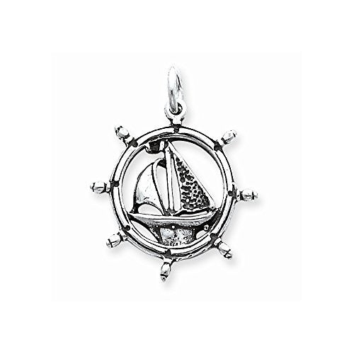 Sterling Silver Antiqued Sailboat In Wheel Charm, Best Quality Free Gift Box Satisfaction Guaranteed - shopvistar