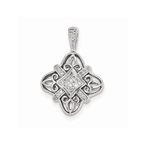 Sterling Silver Diamond Pendant, Best Quality Free Gift Box Satisfaction Guaranteed - shopvistar