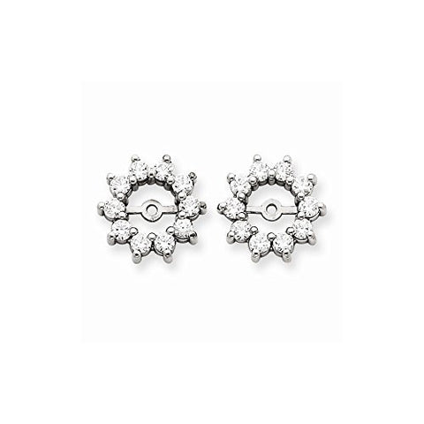 14k White Gold Diamond Earring Jacket Mountings - Base Only, No Stones - shopvistar