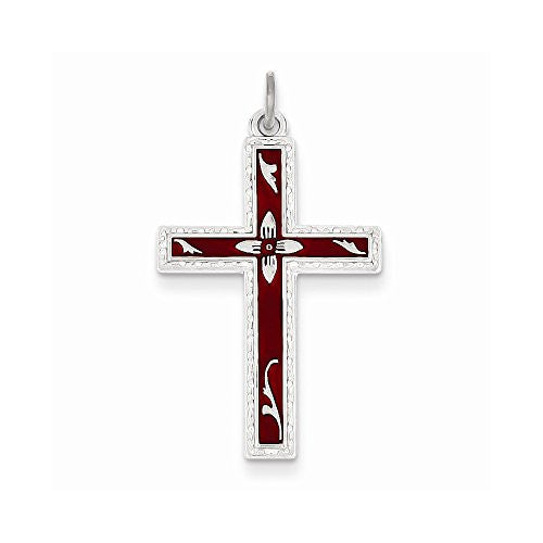 Sterling Silver Red Enameled Cross Pendant, Best Quality Free Gift Box Satisfaction Guaranteed - shopvistar