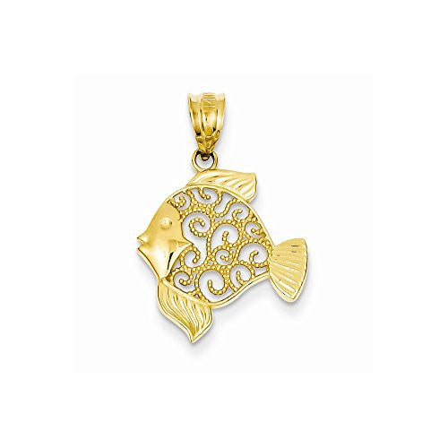 14k Filigree Fish Pendant, Best Quality Free Gift Box Satisfaction Guaranteed - shopvistar