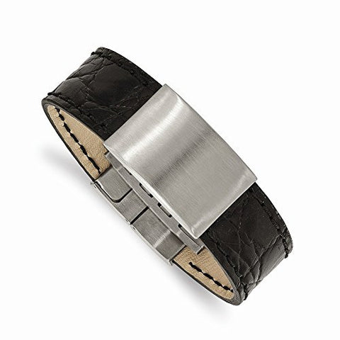 Stainless Steel Brushed Black Leather ID Bracelet - shopvistar