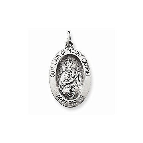 Sterling Silver Antiqued Our Lady Of Mt.carmel Medal, Best Quality Free Gift Box Satisfaction Guaranteed - shopvistar
