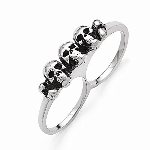 Stainless Steel Polished & Antiqued Two Finger 7/8 Skulls Ring - shopvistar