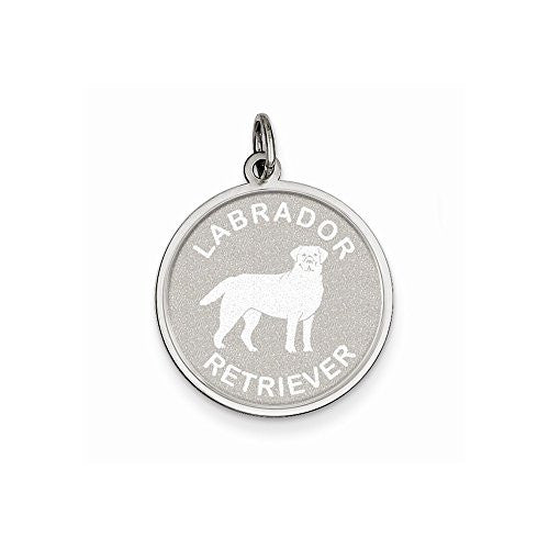 Sterling Silver Labrador Retrieve Disc Charm - shopvistar