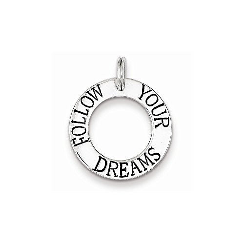 Sterling Silver Follow Your Dreams Circle Charm, Best Quality Free Gift Box Satisfaction Guaranteed - shopvistar