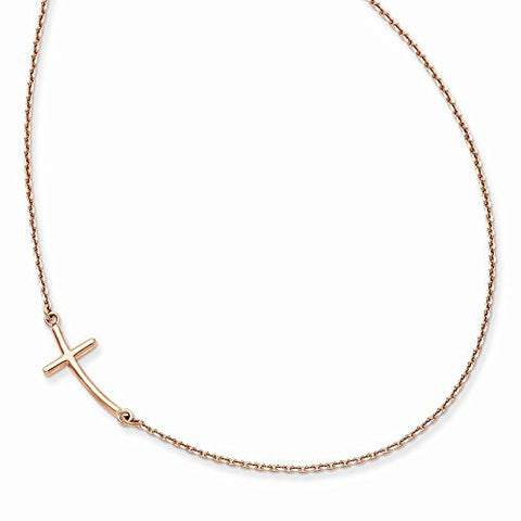 14k Rose Gold Small Sideways Curved Cross Necklace - shopvistar