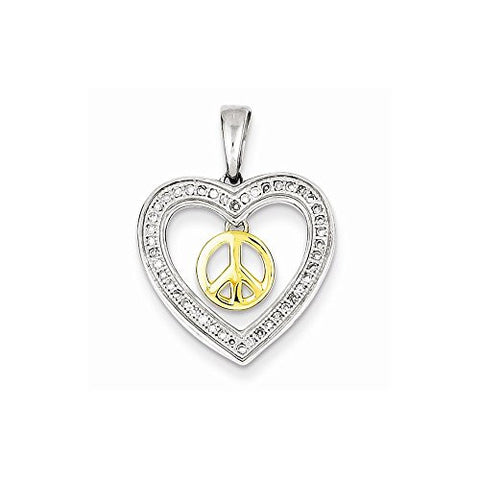 Sterling Silver & 14k Two Tone Peace Sign In Open Heart Diamond Pendant, Best Quality Free Gift Box Satisfaction Guaranteed - shopvistar