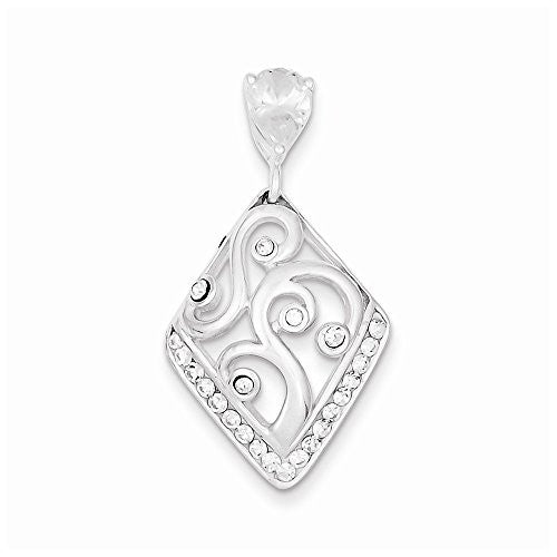 Sterling Silver Cz & Stellux Crystal Pendant, Best Quality Free Gift Box Satisfaction Guaranteed - shopvistar