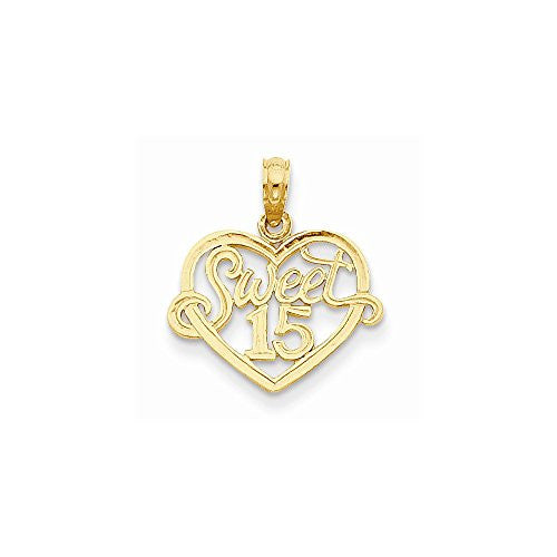 14k Sweet 15 In Heart Pendant, Best Quality Free Gift Box Satisfaction Guaranteed - shopvistar