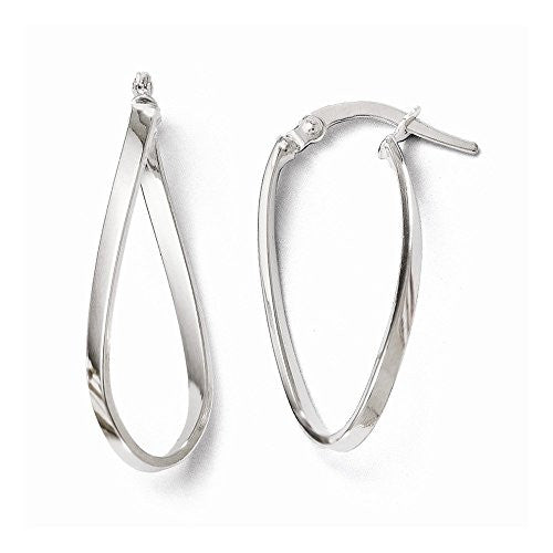 Leslies 14k White Gold Polished Oval Hinged Hoop Earrings - shopvistar