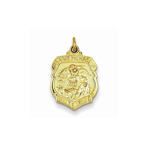 24k Gold-plated Sterling Silver Saint Michael Badge Medal - shopvistar