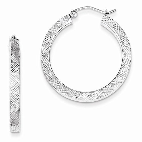 Sterling Silver Dia-Cut 3x30mm Square Tube Hoop Earrings - shopvistar
